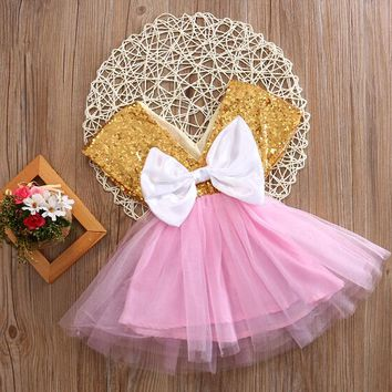 Baby Sequin Bow dress Summer Toddler Girls Dress Flower Princess Wedding Party Pageant Fancy TUTU Dress