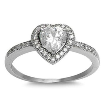 .925 Sterling Silver Halo CZ Heart Engagement Ring Ladies size 4-10