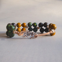 Earth Toned Wooden Beaded Wax Cord Bracelet for Women