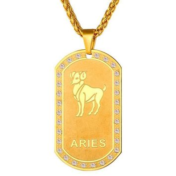 Zodiac Signs Necklace Dog Tags
