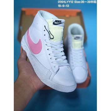 HCXX N371 Nike Blazer Mid Leather Casual Skate Shoes White Pink