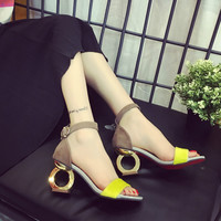 Summer Fashion Multicolor Buckle Band Sandals Women Thick Heel Heels Shoes