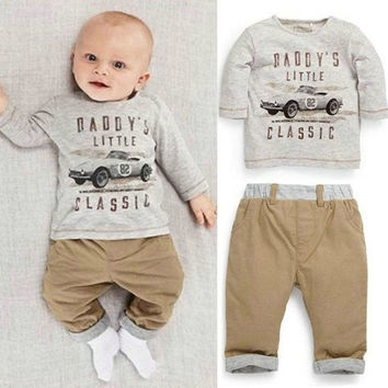 2PCS Cool Car Toddler Clothing sets Baby Boy Girls Sets Outfits Top T-Shirt+Pants Clothes For 0-3T = 1946985732