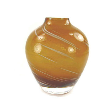 Vintage Blown Glass Vase Small Amber Colored