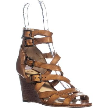 FRYE Rain Strappy Wedge Gladiator Sandals, Brown, 8.5 US