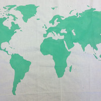 World Map Wall Tapestry in Mint