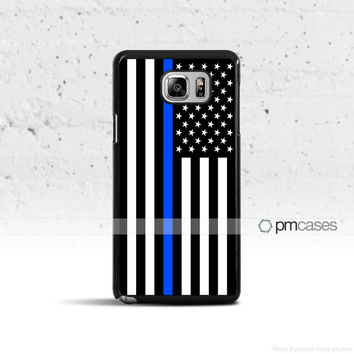 Thin Blue Line Black & White Flag Case Cover for Samsung Galaxy S3 S4 S5 S6 S7 Edge Plus Active Mini Note 3 4 5 7