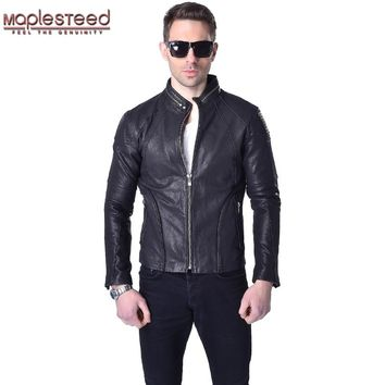 Factory 100% Vegetable Tanned Genuine Goat Skin Leather Jacket Men Leather Coat Black Slim Fit Bomber Men's Leather Jacket ZH041