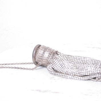 Antique Art Deco Silver Miniature Metal Mesh Wrist Clutch