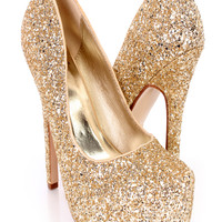 Gold Platform Pump High Heels Glitter