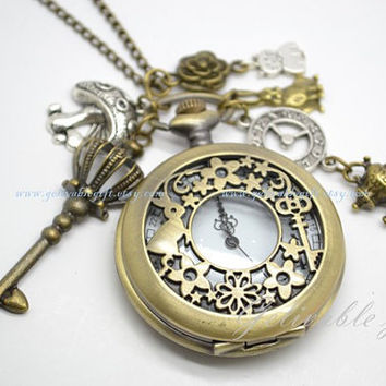 Alice in wonderland pocket watch necklace,with mushroom,crown key,clock,teapot,rabbit,cheshire cat,rose and rabbit pendant NWAW04