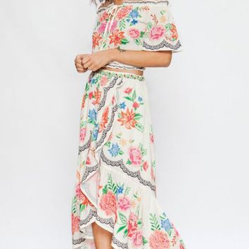 Dancing In The Flowers Floral Pattern High Low Scalloped Flounce Tulip Hem Faux Wrap Loose Maxi Skirt - 2 Colors Available