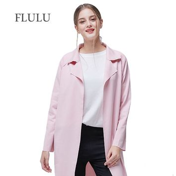 Women's Jacket Windbreaker Fashion Casual Coat Female Jacket Solid Turn Down Collar Long Sleeve Female Plus Size 3XL