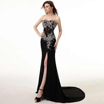 Long Black Evening Dress Mermaid Sleeveless Beaded Crystal with Slit Formal Evening Party Dress Prom Gowns for Woman