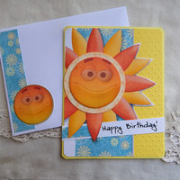 Birthday, thank you, handmade, balsampondsdesign, complete inside, complete outside, sunshine, yellow, greeting card, birthday card