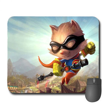 "Custom League Of Legends ""Super Teemo"" Mousepad Teemo Mousepad Videogame Mousepad"