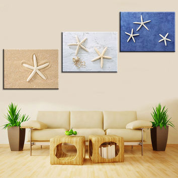 Oil Painting Canvas Print Still Life Love Starfish Home Decoration Poster Wall Art Picture for Living Room 3pcs