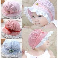 Stylish Cozy Baby Infant Girls Lace Flower Sun Bucket Summer Cotton Hat 3-24 Months = 1930187268