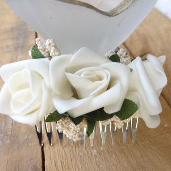 Wedding Hair Comb , Bridal Hair Piece, Bridal Rose Hair Comb, Ivory Flower Hair Comb Romantic, Hair Accessories, Bridesmaid Gifts