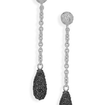 Rhodium Plated Black And Clear Cubic Zirconia Dangle Earrings