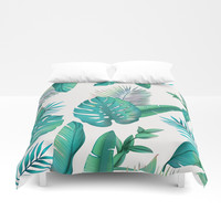 Tropical leafs pattern Duvet Cover by printapix