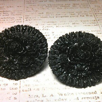 "Black floral rose flower clip earrings. Large about 1 1/4"" around."