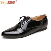 32-46 Patent Leather Oxfords Shoes For Women Flat Shoes Women Breathable