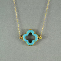 Turquoise Quatrefoil Clover Necklace, 24K Gold Edged, Modern, 14K Gold Fill Chain, Feminine, Eye Catching, Everyday Wear Jewelry