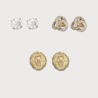 bebe Womens Knot & Lion Earring Set Crystal In Gold