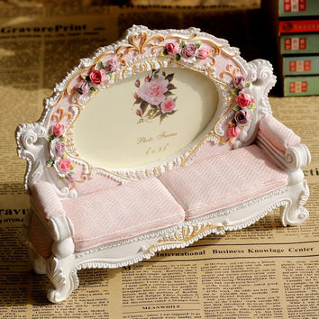 Europe Resin two seats Sofa Photo Frame Retro Creative pastoral Cute Picture Frames Wedding Decoration Gifts