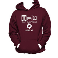 Eat, Sleep, Read and Repeat Bookworm Unisex Hanes Hoodie, Book Lovers