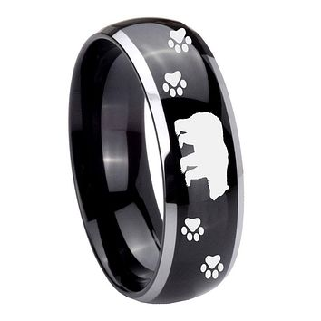 8MM Glossy Black Dome Bear and Paw 2 Tone Tungsten Laser Engraved Ring