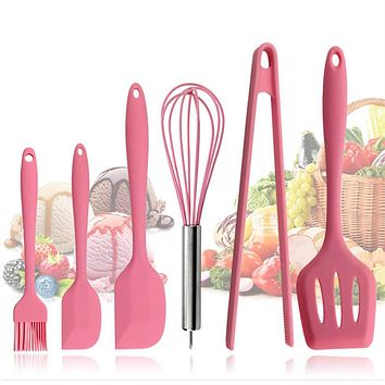 Pink Silicone Cookware Sets 6 pieces Egg Beater Spoon Clip Spatula Oil Brush kitchenware 6 Dresses