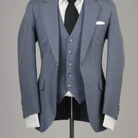 Vintage 80s HIS Gray Pinstripe 3 Piece Vested Suit 36 R Slimfit USA