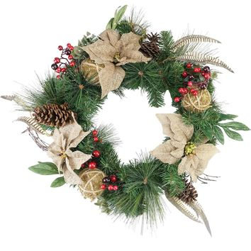 "24"" Autumn Harvest Burlap Poinsettia Moss Ball Mixed Pine and Berries Fall Wreath - Unlit"