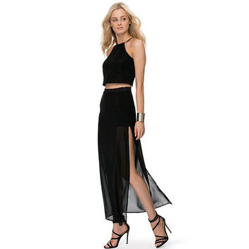 Women's See Through Sheer High Side Split Black Pleated Chiffon Maxi Long Skirt Plus size XS-XXL Free Shipping Y0602-49E