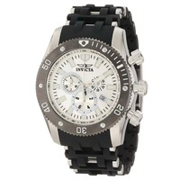 Invicta 10243 Men's Sea Spider Black Rubber & Stainless Steel Bracelet Silver Dial Chronograph Watch