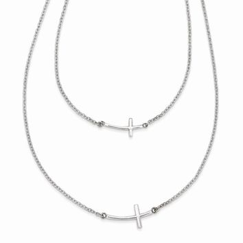 925 Sterling Silver Small & Large Sideways Curved Cross 2-Layer Necklace