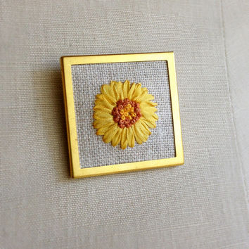 Silk Ribbon Embroidery Embroidered Brooch Sunflower Floral Design Yellow Flower Pin