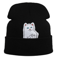hot beanie new style cat hat hip hop acrylic knit hedging winter hats for women men 8 colors