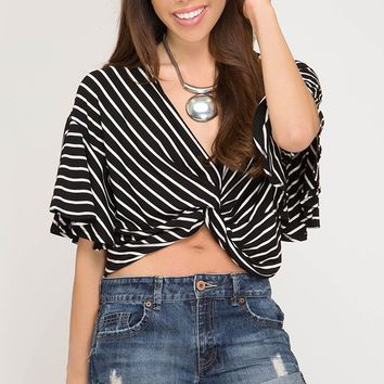 Striped Top with Front Twist ans Back Elastic - Black