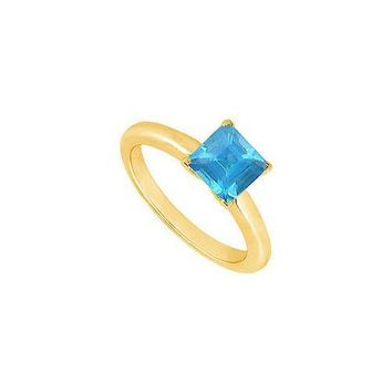 Blue Topaz Ring : 14K Yellow Gold - 0.75 CT TGW