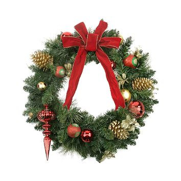 "24"" Pre-Decorated Red and Gold Ball Ornaments Pine Cones & Bow Artificial Christmas Wreath - Unlit"