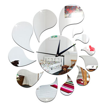 3D Water-drop Mirror Wall Clock Acrylic Sticking   silver