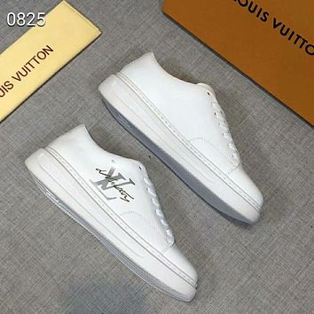 LV 2018 winter new men's shoes white lace sports shoes white