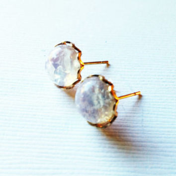 White Glass Earrings - White Glass Studs - Crackle Glass Earrings - Clear Bridal Earrings- Clear Bridal Studs