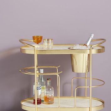 Marble-Top Brass Bar Cart