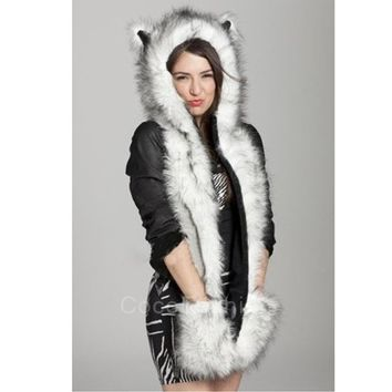 Winter Hat Cap Animal Artificial Fur One Piece Cap Scarf CFC