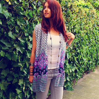 Bohemian cardigan top paisley scarf wrap layering vest Boho Hippie style Upcycled clothing OOAK by TheBohemianDream