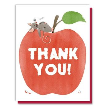 Mouse On Apple Thank You Card